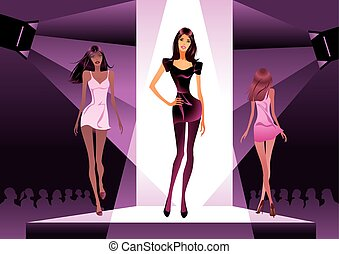 Fashion show in the spotlight - vector illustration