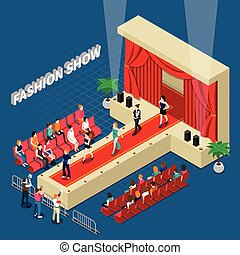 Fashion show isometric composition with models on catwalk with red curtain media and guests vector illustration