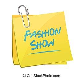 fashion show memo illustration design over a white...