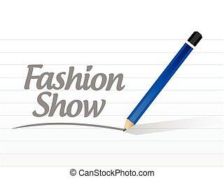 fashion show message sign illustration design over a white...