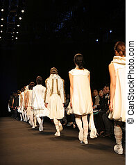 Models on the catwalk during a fashion show