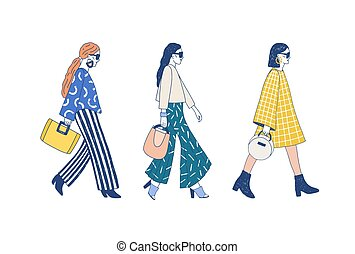 Fashion show runway flat vector illustration. Models dressed in haute couture clothing cartoon characters on white background. Designer demonstrating latest collection. Topmodel wearing trendy outfit.