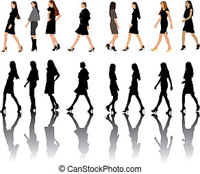 Fashion show women silhouettes collection. Vector color illustration.