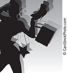 model silhouette holding fashion accessories
