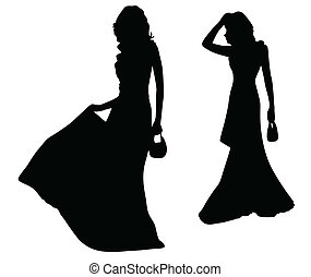 Fashion silhouettes of girls