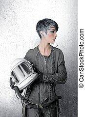 fashion silver woman spaceship astronaut helmet space...