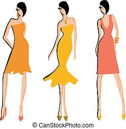Fashion Sketch - Sketch of three models posing in elegant...