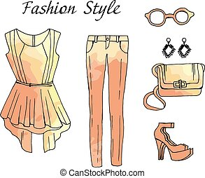 Fashion sketch drawing outfit illustration