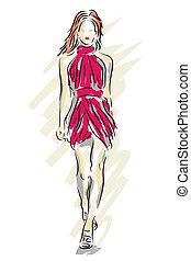 Editable vector sketch of a fashion model walking down a catwalk
