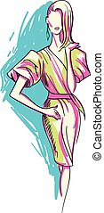 Fashion Sketch of Beautiful Woman