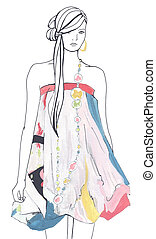 Fashion sketch. Woman in colored dress. Gouache and inkl drawing
