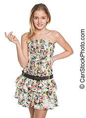 Fashion smiling preteen girl - A pretty preteen girl on the...