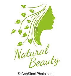 Fashion, spa, cosmetic vector concept background with beautiful woman head