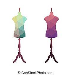 Fashion stand, female torso mannequin.