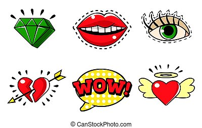 Fashion Stickers Badges in Pop Art Retro Style Set Vector Illustration