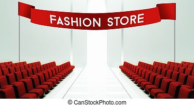 Fashion store empty runway background