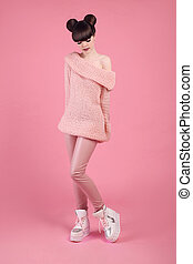 Fashion studio teen look style in boot shoes. Fashionable...
