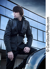 Fashion style photo of a handsome guy