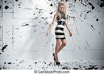 Fashion style photo of beautiful blond woman
