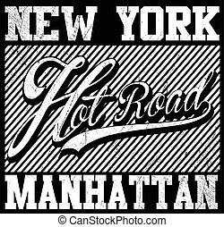 Fashion style slogan graphic for t-shirt, New York vector print and varsity. For t-shirt or other uses in vector.T shirt graphic