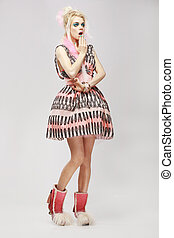 Fashion Style. Surprised Eccentric Woman in Trendy Dress. Amazement