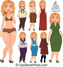 Recommended fashion style for triangle type of woman figure, vector hand drawn illustration, part of collection