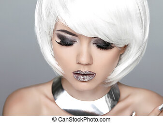 Fashion Stylish Beauty Portrait with White Short Hair. Beautiful