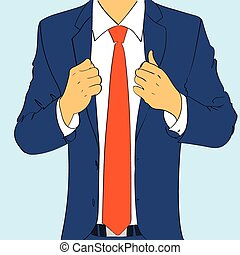 fashion suit business man wear red tie flat design vector...
