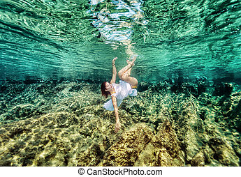 Fashion swimming underwater