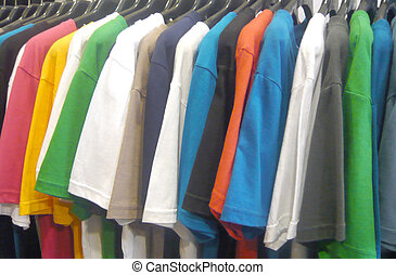 t-shirt - fashion t-shirt on hangers at the show