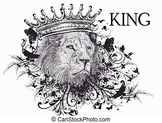 Fashion T-shirt print with lion head in crown and swirls. ...