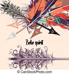 Fashion T-shirt print with vector boho arrows and feathers