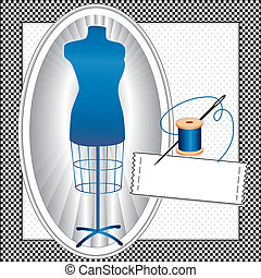 Fashion model, sapphire blue tailors female mannequin dress form in oval frame, needle and thread, sewing label with copy space to add your name, black and white check frame, polka dot background. EPS8 compatible.