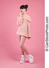 Fashion teen look style in boot shoes. Fashionable young...