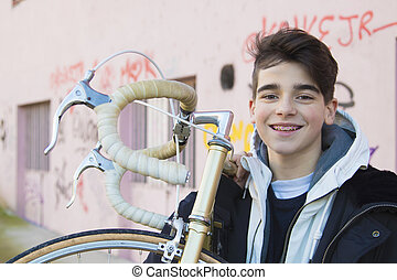 fashion teenager with outdoor bike