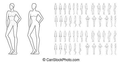 Fashion template of 50 women.