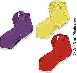Fashion tie set. Vector.