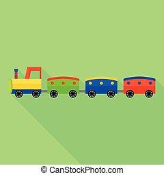 Fashion toy train icon, flat style