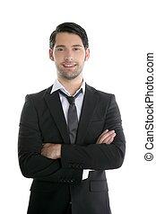Fashion trendy elegant young black suit man