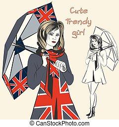 Fashion trendy girl hold umbrella w