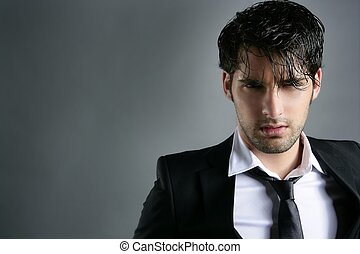 Fashion trendy suit young man hairstyle portrait - Fashion...