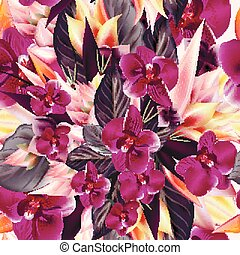 Fashion tropical pattern with orchid flowers and leafs.eps
