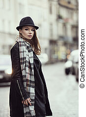 fashion urban girl with hat