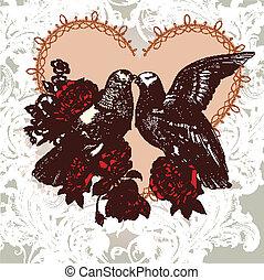 Fashion Valentine card with birds a