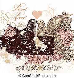 Fashion Valentine card with birds