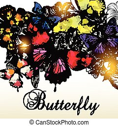 Fashion vector background with beautiful colorful butterflies for design