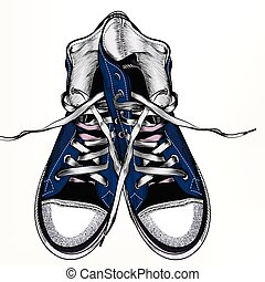 Fashion vector background with blue hipster sneakers in...