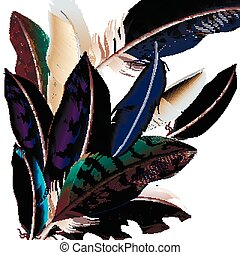 Fashion  vector background with colorful  feathers in realistic style.eps