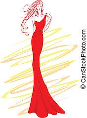 Fashion. - Fashion model in red.