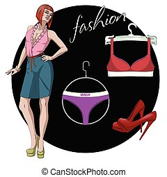 Fashion Vector Illustration. Beautiful young model woman with underwear set and shoes.